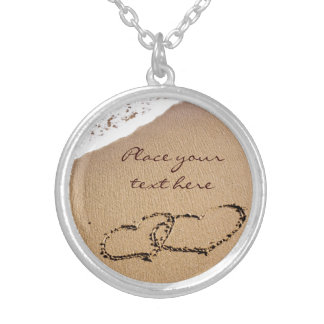 Two Hearts In The Sand Silver Plated Necklace