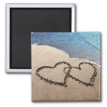 Two Hearts In The Sand Square Magnet