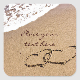Two Hearts In The Sand Square Sticker