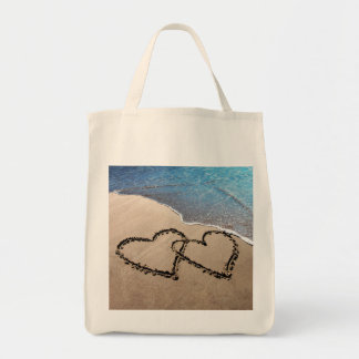 Two Hearts In The Sand Tote Grocery Tote Bag