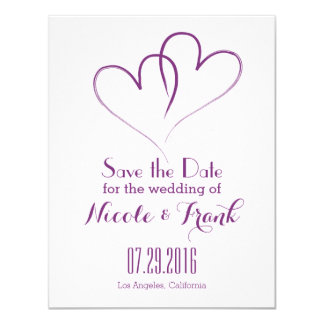 Two Hearts intertwined Save the Date -Purple 11 Cm X 14 Cm Invitation Card