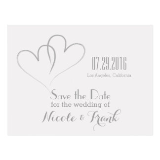 Two Hearts intertwined Save the Date -Silver Postcard
