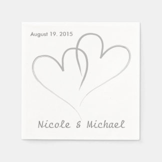 Two hearts intertwined Wedding Paper Napkins. Paper Napkin
