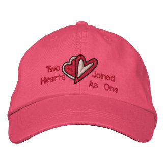 Two Hearts Joined As One Embroidered Hat