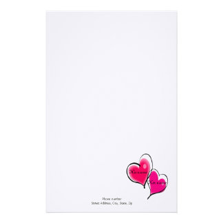 Two Hearts Letterhead Template Customized Stationery