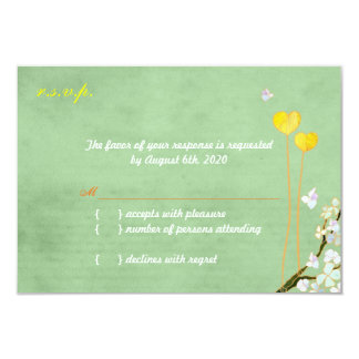 Two Hearts Mint Green + Yellow Wedding RSVP 9 Cm X 13 Cm Invitation Card