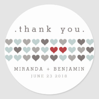 Two Hearts Modern Personalized Wedding Thank You Round Sticker