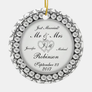 Two Hearts Monogram Wedding Pattern Christmas Ornament