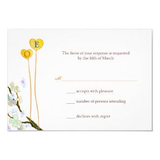 Two Hearts Monogram White Wedding RSVP (3.5x5) Custom Announcement