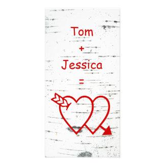 Two hearts on a birch bark customised photo card