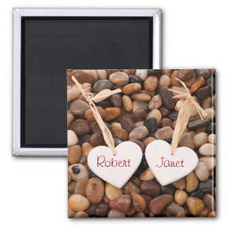 Two Hearts on a Pebble Beach Magnet