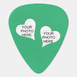 Two Hearts on Green Add Photos Guitar Pick