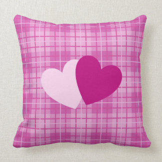 Two Hearts on Plaid Pinks Cushion