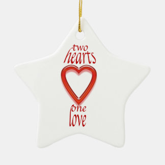 two heart's one love ceramic star decoration