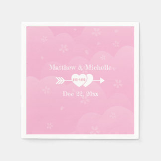 Two Hearts One Love Pink Cherry Blossoms Wedding Disposable Serviette