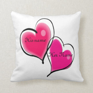 Two Hearts Pillow Template Throw Cushion