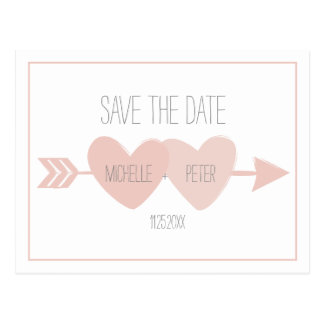 Two Hearts Save The Date Postcard (white)