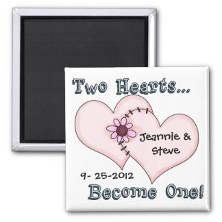 Two Hearts Sewn Together Save the Date Magnet