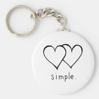 Two Hearts - Simple love - fresh line drawing art Basic Round Button Key Ring
