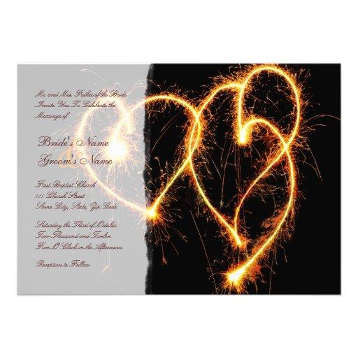 Two Hearts Sparklers Wedding Invitation