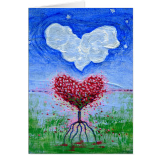 Two Hearts Surrealist Art Card