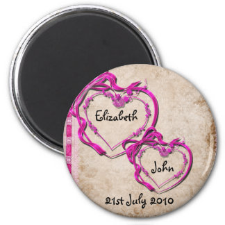 Two Hearts Together 6 Cm Round Magnet