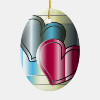 two hearts together and bright colored christmas ornament