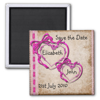 Two Hearts Together Square Magnet