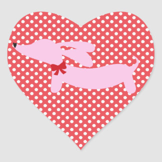 Two Hearts, Two Dachshunds Envelope Labels Heart Sticker