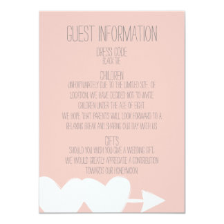 Two Hearts Wedding Guest Information Card 11 Cm X 16 Cm Invitation Card