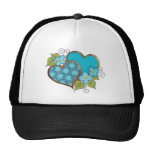 Two hearts with blossoms aqua mesh hats