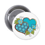 Two hearts with blossoms aqua pins