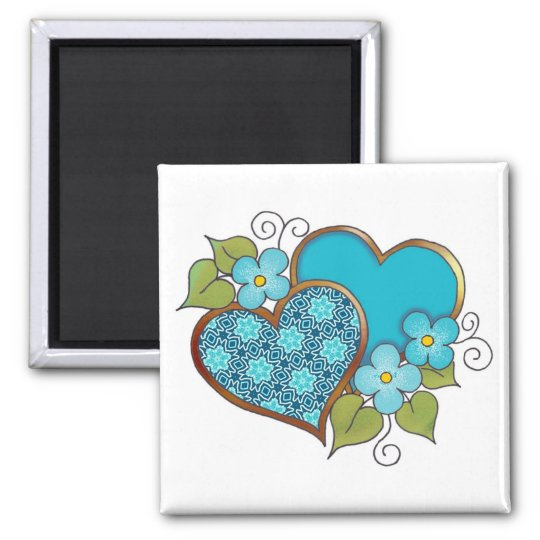Two hearts with blossoms aqua square magnet