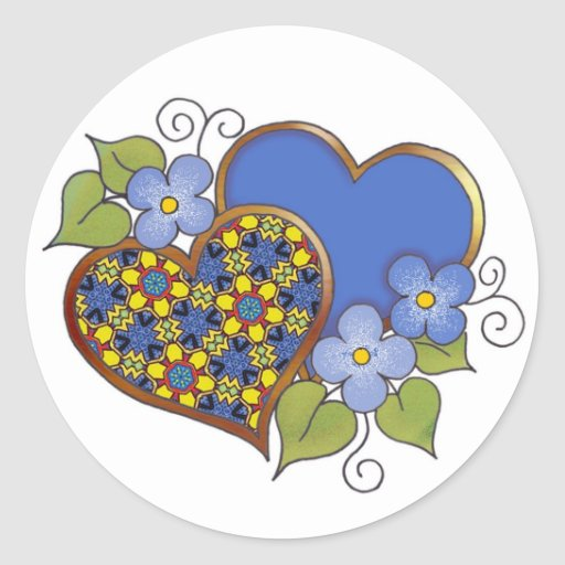 Two hearts with blossoms primary colors round stickers
