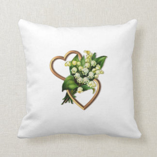 Two Hearts with Lilies of the Valley Cushion