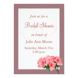 Two Hearts with Rosy Brown Border Bridal Shower 13 Cm X 18 Cm Invitation Card