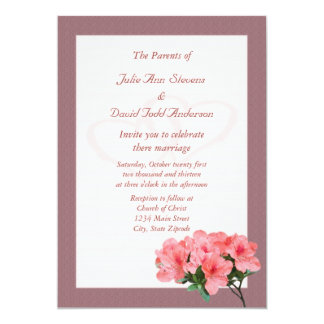 Two Hearts with Rosy Brown Border Wedding 13 Cm X 18 Cm Invitation Card