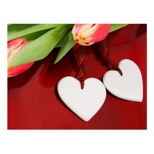 Two Hearts with Tulips Postcards