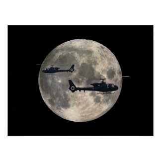two helicopters silhouetted by a full moon poster
