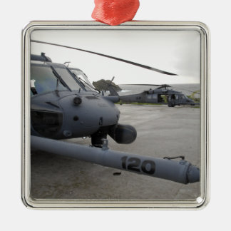 Two HH-60G Pave Hawks Silver-Colored Square Decoration