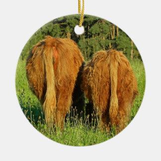 Two Highland Cattle Rears in Upper Austria Round Ceramic Decoration