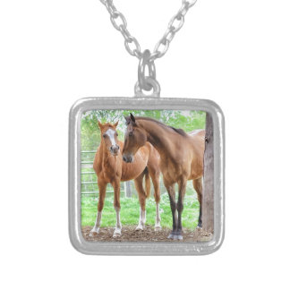 Two horse friends silver plated necklace