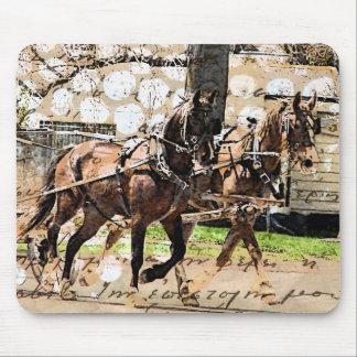 Two Horse Team Mixed Media Collage Mouse Pad