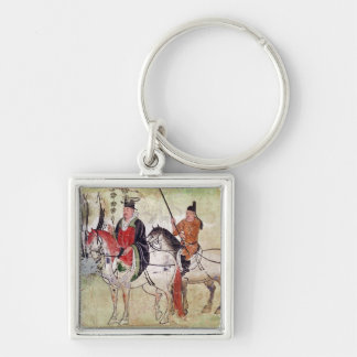 Two Horsemen in a Landscape Silver-Colored Square Key Ring
