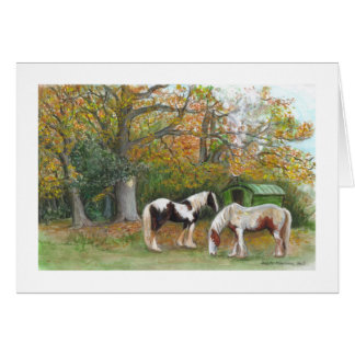 Two horses and a gypsy wagon - Card