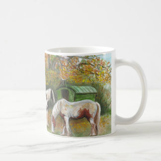 Two horses and a Gypsy wagon Coffee Mugs