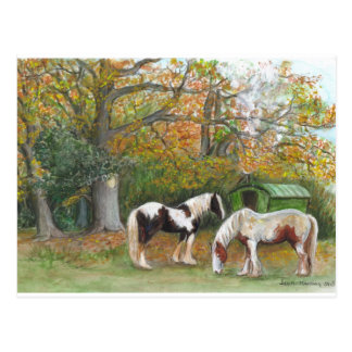 Two horses and a gypsy wagon - Postcard