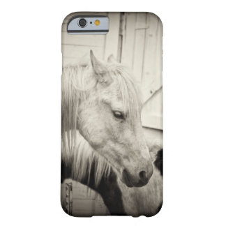 two horses outside a stable- black and white barely there iPhone 6 case
