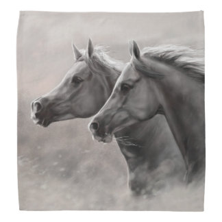 Two Horses Painting Gift Black Stallions Bandana
