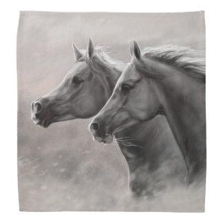 Two Horses Painting Gift Black Stallions Bandanna